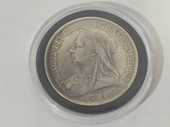 1893 Silver Coin, Queen Victoria British Widow Head Crown