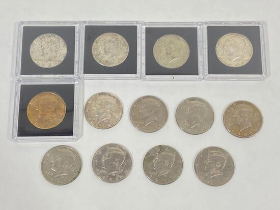 13 Kennedy half dollars U.S. half dollar coins, with 4 silver coins