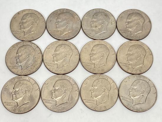 12 U.S. Eisenhower dollar coins, 1974, 1976-D, 1977-D,1977, 1978, 1978-D