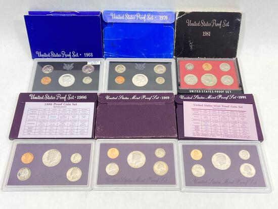6 United States Mint Proof Sets of Coins, 1968, 1970, 1981, 1986, 1989, 1991
