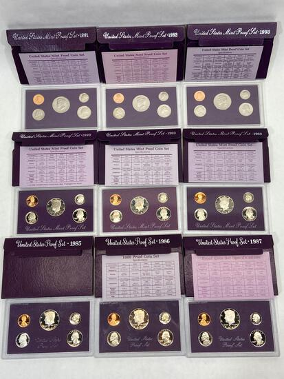 9 United States Mint Proof Sets of Coins 1985, 1986, 1987, 1988, 1989, 1990, 1991, 1992, 1993