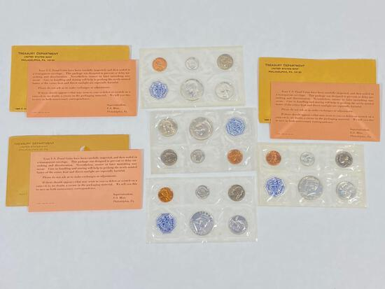 4 United States Mint Proof Sets of Coins, 1962 & 1964