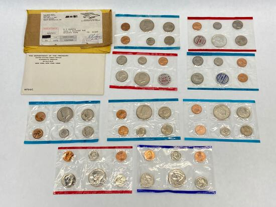 United States Mint Uncirculated Sets of Coins, 1968, 1971, 1972, 1984, 1993