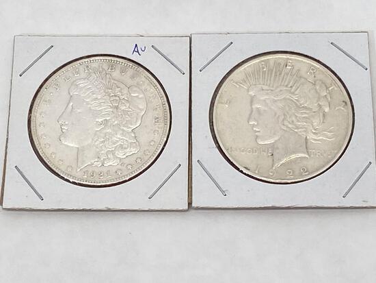 2 U.S. Silver Coins, 1921 Morgan Dollar, 1922 Peace Dollar