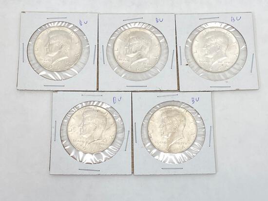 1964 Kennedy Silver Half Dollars, 5 Units