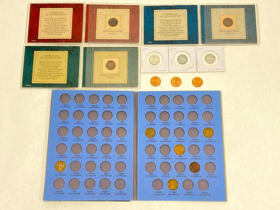 U.S. Penny Collection, 1881, 1897, 1903 Indian Head Pennies w/ COAs, 3 Steel Cents 1943, Lincoln