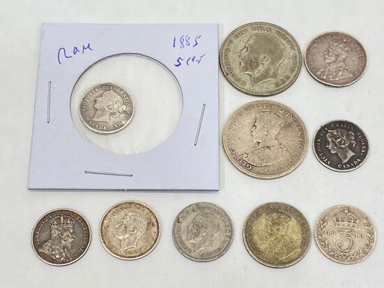 Antique and vintage Silver foreign coins, 10 Units