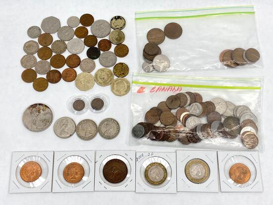 British Empire coins, Canada, UK, Australia, etc.