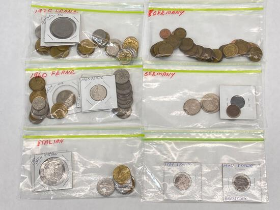 Collection of foreign coins from France, Germany, Italy