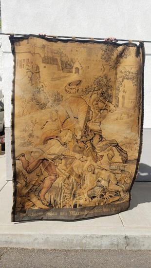 1900s Tapestry Hunting Scene 5ft Wide 7ft Tall