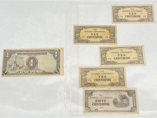 WW2 Era Japanese occupied Philippines paper money, 6 Units