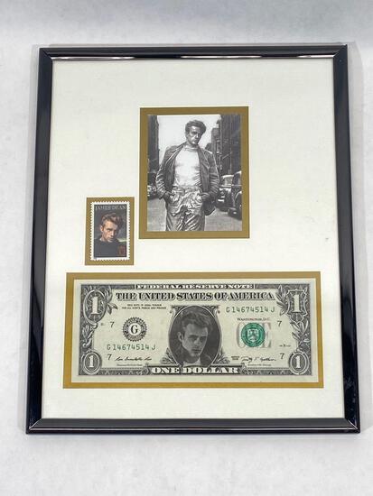 Framed James dean memorabilia, photo, stamp, dollar bill