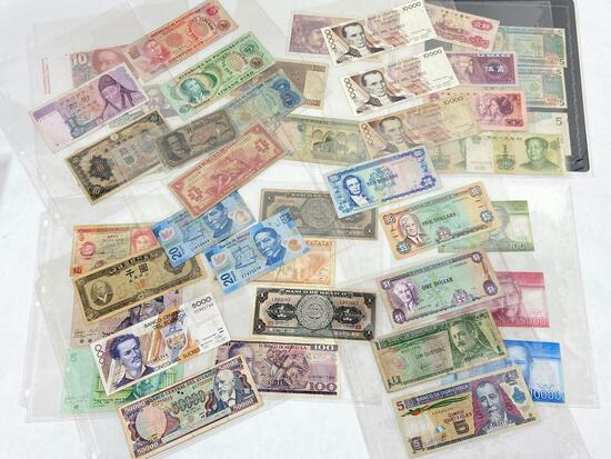 Collection of foreign currency & United States fractional currency 50 cent bill