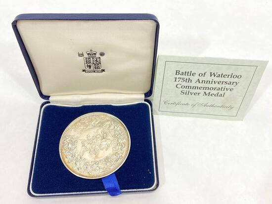 Large Silver Coin, Battle of Waterloo 175th Anniversary Commemorative Medal