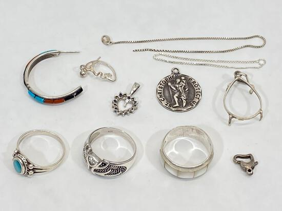 Silver jewelry, rings, pendants, etc.