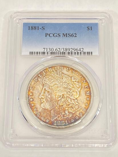 1881-S Morgan Dollar, PCGS Graded MS62, United States silver dollar coin