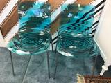 Art Deco Plastic Metal Aqua Chairs 2 Units