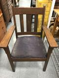 Vintage Wood Cushioned Seat Captain Chair