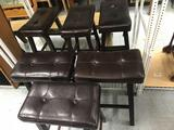 Leather Top Wood Bar Stools 6 Units