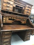 Large Wood Lawyers Roll Top Desk