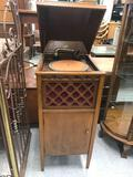 Antique Pathe Wood Cabinet Record Player