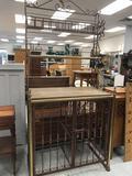Brass Metal Wood Wine Rack Cabinet