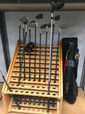 Wood Golf Club Display 11 clubs and Bag