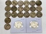 22 Jefferson Silver War Nickels, 1942, 1943, 1944, 1945