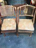 Vintage Bamboo Folding Chairs 2 Units