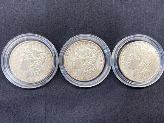3 Morgan Dollars, Silver U.S. Dollar Coins 1889, 1900, 1921