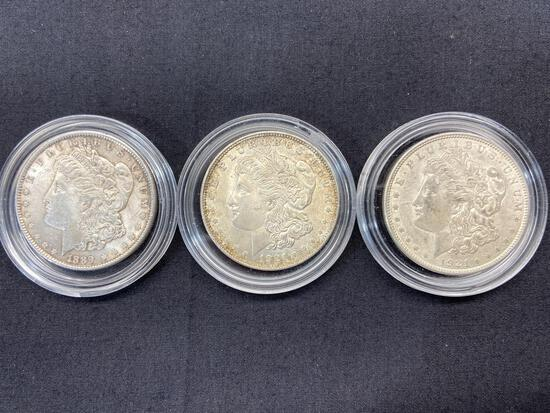 3 Morgan Dollars, Silver U.S. Dollar Coins 1889 & 1921