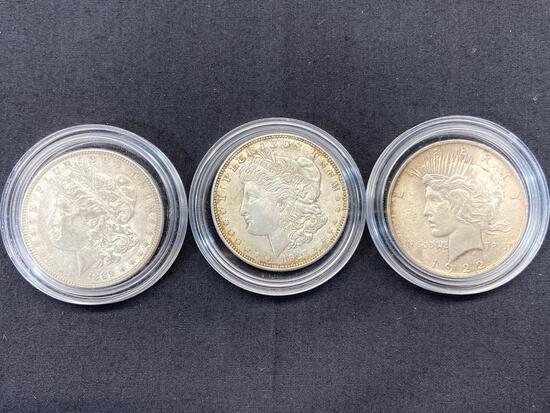 3 Silver U.S. Dollar Coins, 1889 & 1921 Morgan Dollars, 1922 Peace Dollar