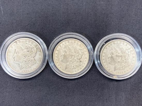 3 Morgan Dollars, 1921 Silver U.S. Dollar Coins