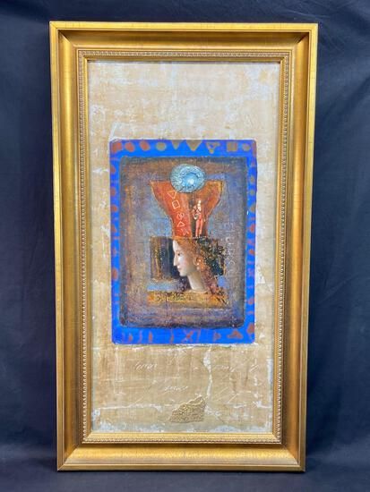 Signed Framed Mixed Media Art, Flora I by Mersad Berber, w/ COA, 40x23in