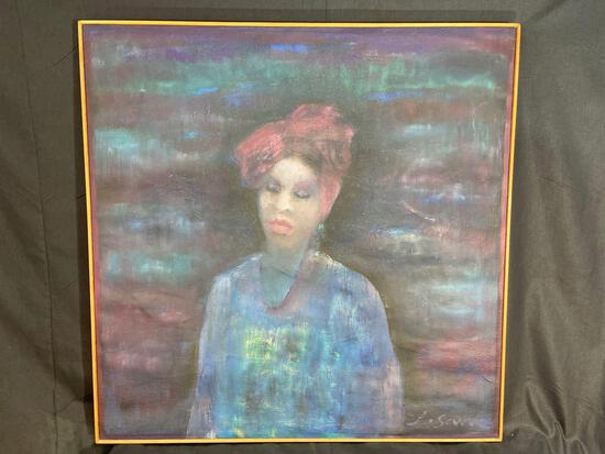 Signed Oil on Canvas Painting, Woman With Closed Eyes by Joan Savo, 38x38in
