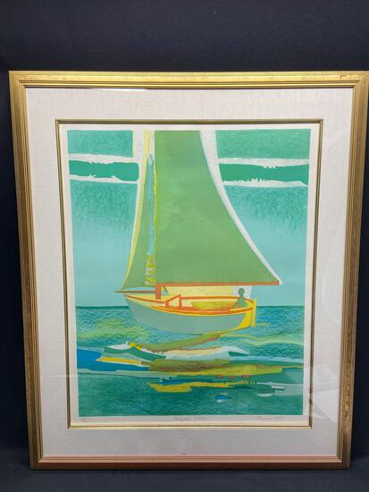 Signed Framed Limited Edition Lithograph, Navigateur Solitaire by Francoise Gilot, 34.5x41in