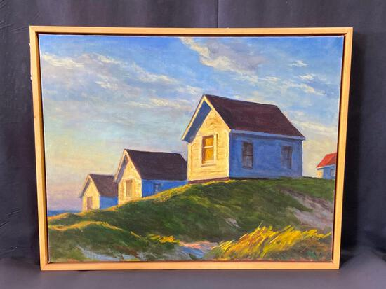 Signed Framed Oil on Linen Painting, Vacation Row by Mark Beck, 29in x 24in