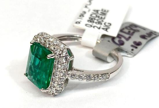 2.90ct Emerald & 0.86ct Diamonds Platinum Ring, Size 7, Certified & Graded by AIG