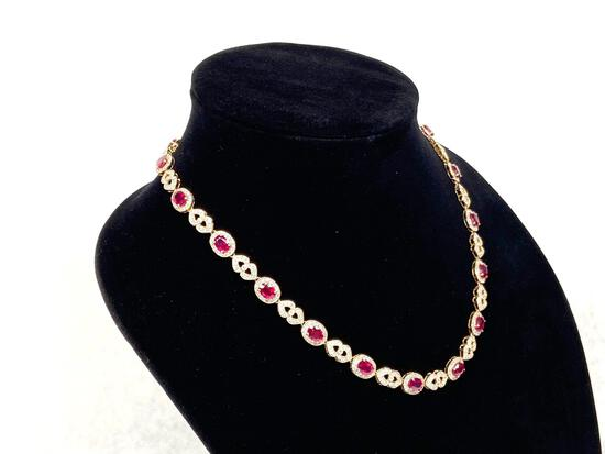 23.81ct Rubies, 4.26ct Diamonds, 14K Gold Necklace, 18in Long, Certified & Graded by AIG