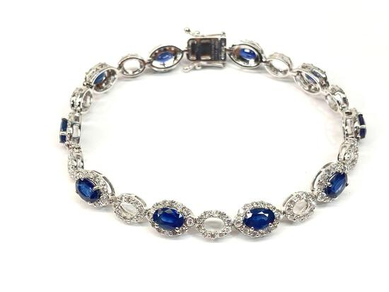 6.16ct Sapphires, 2.75ct Diamonds Platinum Bracelet, 7in Long, Certified & Graded by GLA