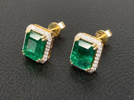 6.12ct Emerald, 0.39 Diamonds, 14K Gold Earrings, Certified & Graded by AIGL