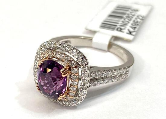 2.63ct Pink Sapphire, 0.70ct Diamonds, 14K White Gold Ring, Size 6 1/2, Certified & Graded by AIGL