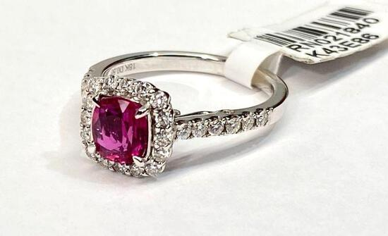 1.01ct Ruby, 0.50ct Diamonds, 18K White Gold Ring, Size 6 1/2 Certified & Graded by GIA & AIG