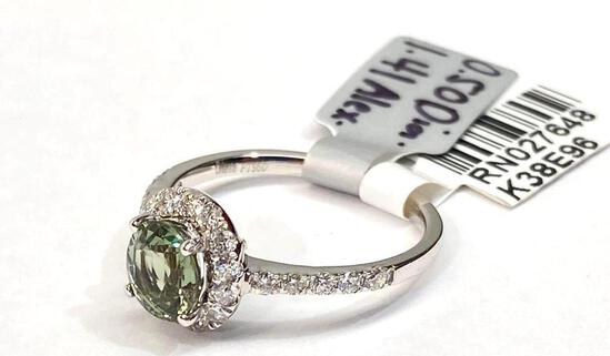 1.41ct Alexandrite, 0.50ct Diamonds Platinum Ring Size 7, Certified & Graded by GIA & AIG