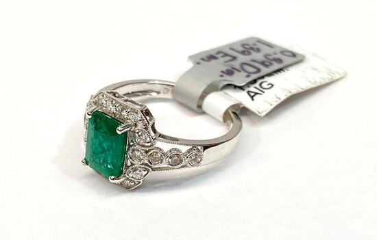 1.39ct Emerald, 0.39ct Diamonds, 18K White Gold Ring, Size 7, Certified & Graded by AIG