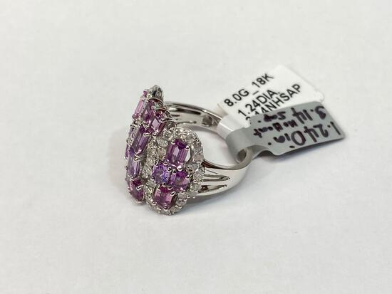 3.14ct Unheated Pink Sapphires, 1.24ct Diamonds 18K Gold Ring, Size 6 1/2, Certified & Graded by GLA