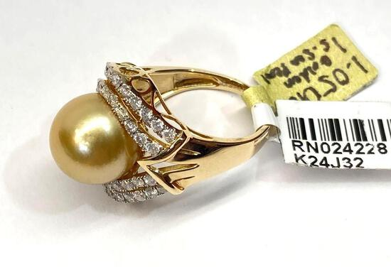 12mm South Sea Pearl & 1.05ct Diamonds, 14K Gold Ring, Size 7, Certified & Graded by AIGL