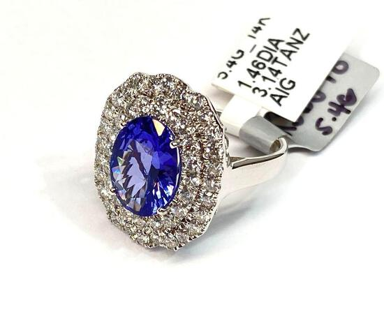 3.14ct Tanzanite, 1.46ct Diamonds, 14K White Gold Ring, Size 7, Certified & Graded by AIG
