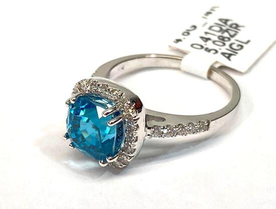 5.06ct Blue Zircon, 0.41ct Diamonds, 14K White Gold Ring, Size 6 1/2, Certified & Graded by AIGL