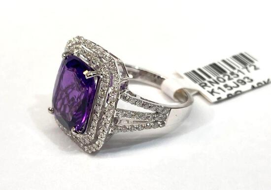3.70ct Amethyst, 0.80ct Diamonds, 18K White Gold Ring, Size 7, Certified & Graded by AIGL